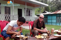 Guests having breakfast at Chalamthang Home Stay